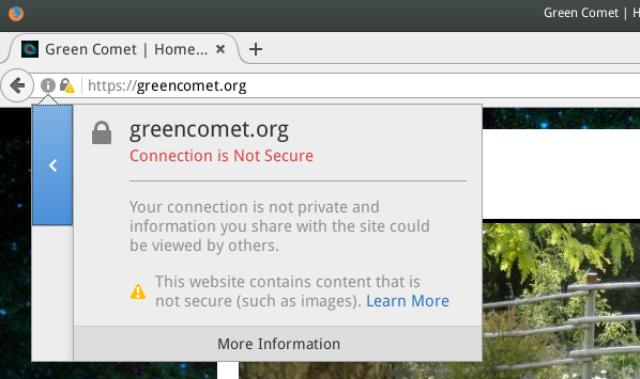 Connection is not Secure | Green Comet